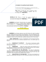 Deed of Grant of Usufructuary Rights No Consideration