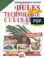 Modules de Technologie Culinaire 1 Et 2