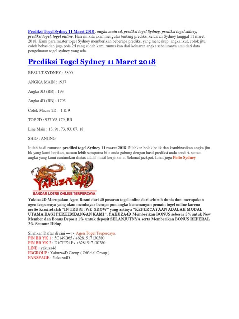 Prediksi Togel Sydney 11 Maret 2018 - Yakuzalotto
