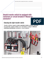 Should Transfer Switch Be Equipped With Contactors or Circuit Breakers