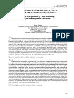 Kajian Regulasi Penyediaan Tanah Untuk Permukiman Transmigrasi