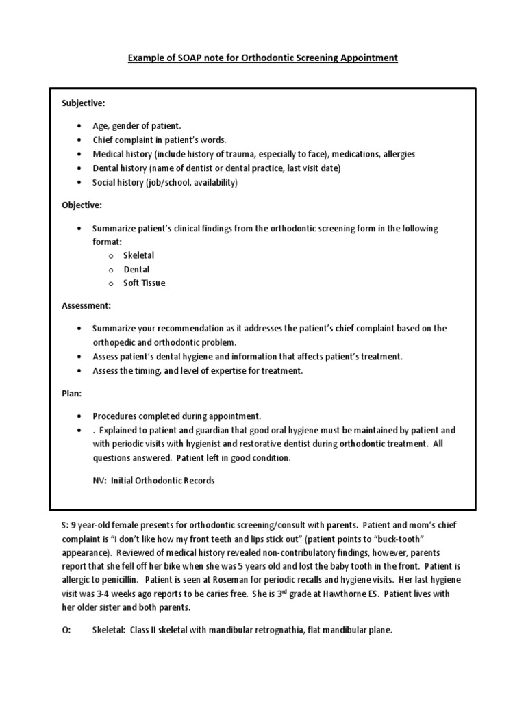 Example of SOAP Notes For Orthodontic Screening  PDF