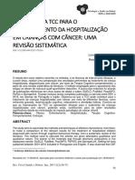 A Eficácia Da Tcc Para o Enfrentamento Da Hospitalização Em Crianças Com Câncer Uma Revisão Sistemática