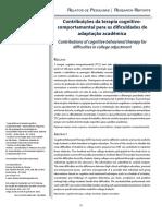 Contribuições Da Terapia Cognitivo Comportamental Para a Dificuldade de Adaptação Academica