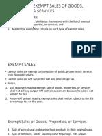 Exempt Sales