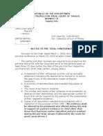 Notice of Pre Trial Conference