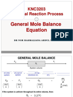 General Mole Balance Equation