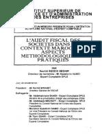 L Audit Fiscal Des Societes Dans Le Contexte Marocain