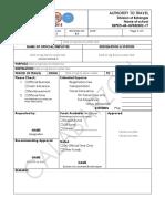 Travel Authority Form