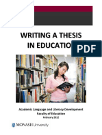 Writing a Thesis in Education by Academic Language and Literacy Development Faculty of Education