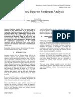 A Brief Survey Paper on Sentiment Analysis