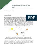 The Schrödinger Wave Equation for the Hydrogen Atom