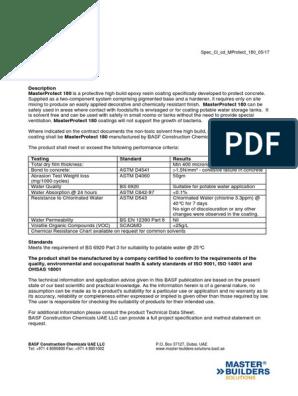 Basf Masterprotect 180 Spec | Volatile Organic Compound