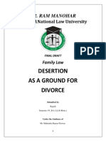 Desertion as Ground for Divorce