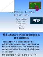 Chapter 6 – Linear Equations