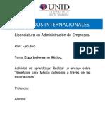 7. Exportaciones en México.  Mercados internacionales