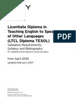 TESOL LTCL Diploma - 2017 Validation Requirements, Syllabus and Bibliography