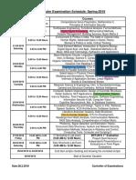 Z-End Semester Examination Schedule-S18