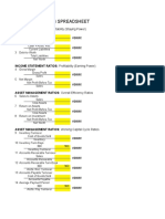 Ratio Analysis Spreadsheet