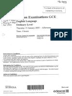 2005 Edexel GCE O