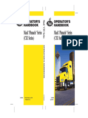 2010 US Mack Pinnacle Series (CXU Series) Operator's Manual | Truck