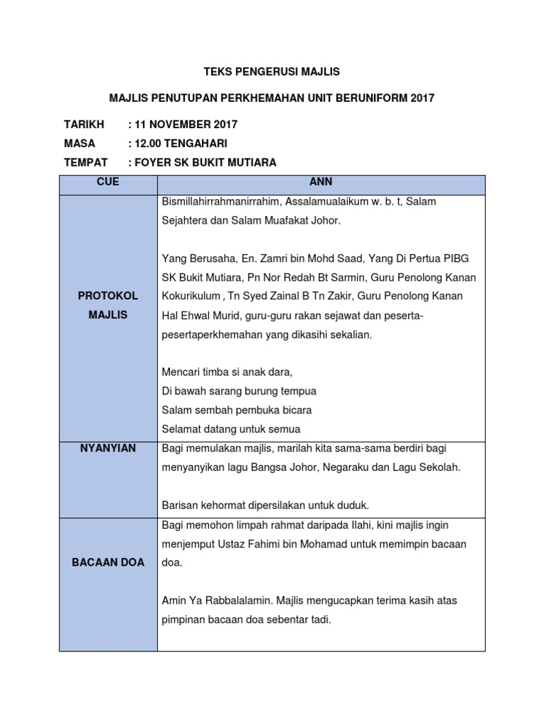 Teks Pengerusi Majlis Majlis Penutupan Perkhemahan Unit Beruniform 2017 Tarikh 11 November 2017 Masa 12 00 Tengahari Tempat Foyer Sk Bukit Mutiara Cue Ann