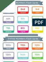 Ordinal Numbers Flash Cards 2x3