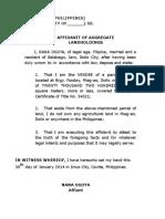 Affidavit of Aggregate Landholdings