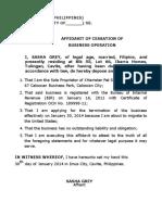 Affidavit of Cessation of Business Operations