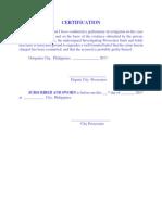 Certification (Sample)