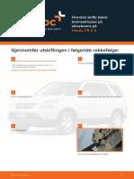 Hvordan skifte bakre bremseklosser på skivebrems på Honda CR-V 2
