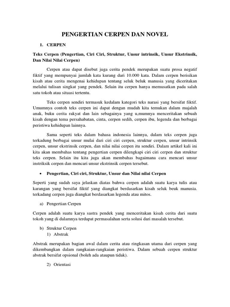 Pengertian Cerpen Dan Novel