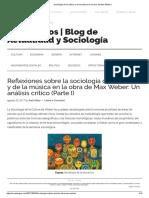 Sociología de La Cultura y de La Música en La Obra de Max Weber I