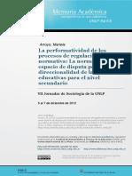 La Performatividad de Los Procesos de Regulacion Normativa. Arroyo Mariela (2012)