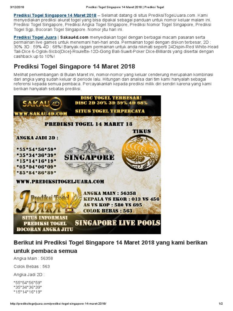 Prediksi Togel Singapore 14 Maret 2018