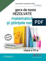 Culegere Clasa AVIa Matematica Stiintele Naturii