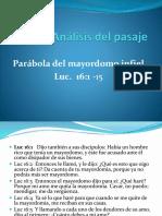 Análisis Del Pasaje El Mayordomo Infiel