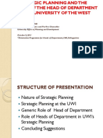 Strategic Planning and the Role of the HOD