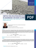 CINÉTICA PARA RECUPERACIÓN DE ZINC DE CENIZAS DE GALVANIZADO CON ÁCIDO CLORHÍDRICO
