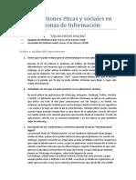 Las Cuestiones Éticas y Sociales en Sistemas de Información