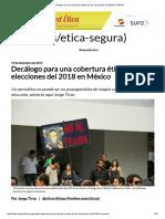 Decálogo Para Una Cobertura Ética de Las Elecciones Del 2018 en México