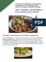 Dieta Vegetariana. Ventajas y Cómo Favorecer La Salud Con La Misma