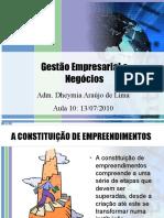 Aula 10 de 14 - Gestão Empresarial e Negócios (13-07-10)