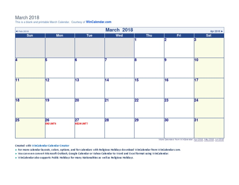 march 2018 calendar application software office software