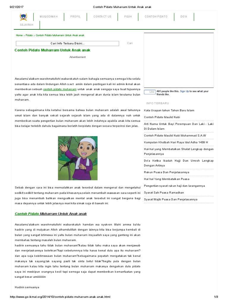 Contoh Pidato Muharram Untuk Anak Anak