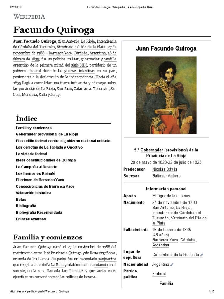 Facundo Quiroga Biografia