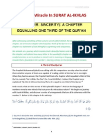 Numeric Miracle in Surat Al-ikhlas
