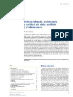 Independencia Autonomia y Calidad de Vida Analisis y Evaluaciones