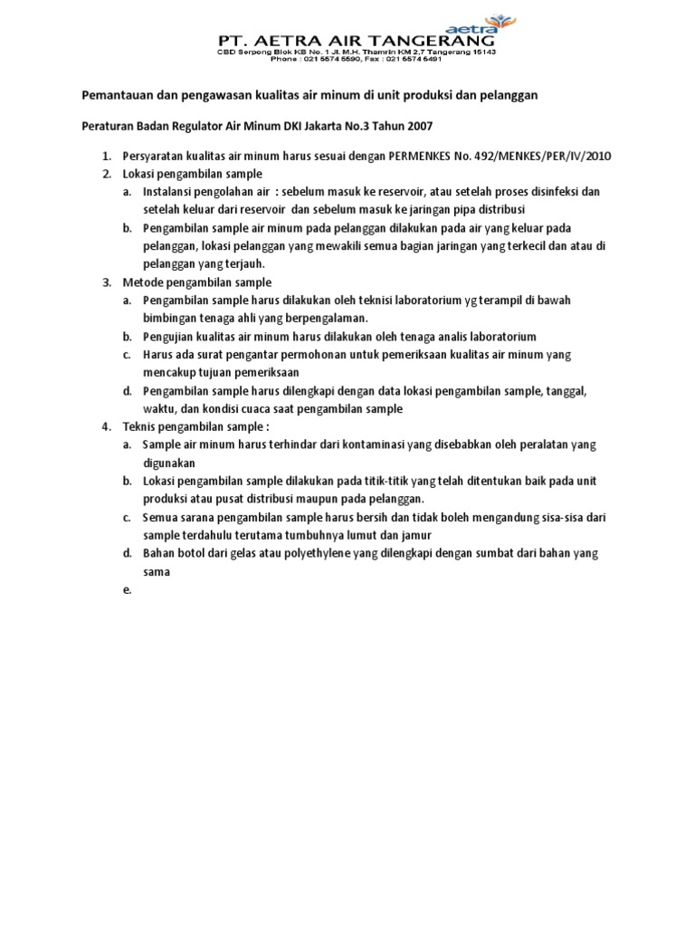 Pemantauan Dan Pengawasan Kualitas Air Minum Di Unit Produksi
