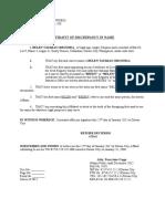 Affidavit of Discrepancy in Name Omosora
